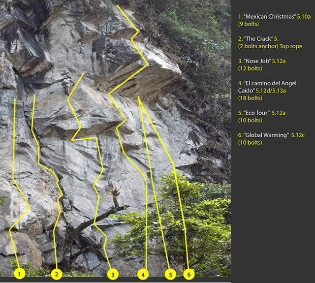 Rock Climbing Routes at Legacy Sector in Boquete, Panama